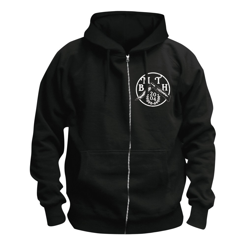 Bring Me the Horizon Bat Hoodie A bad-looking bat holding two keys over a coffin can only mean metalcore on this Bring Me the Horizon hoodie. The Bring Me the Horizon Bat Hoodie is black with a distressed print and a full length zipper.