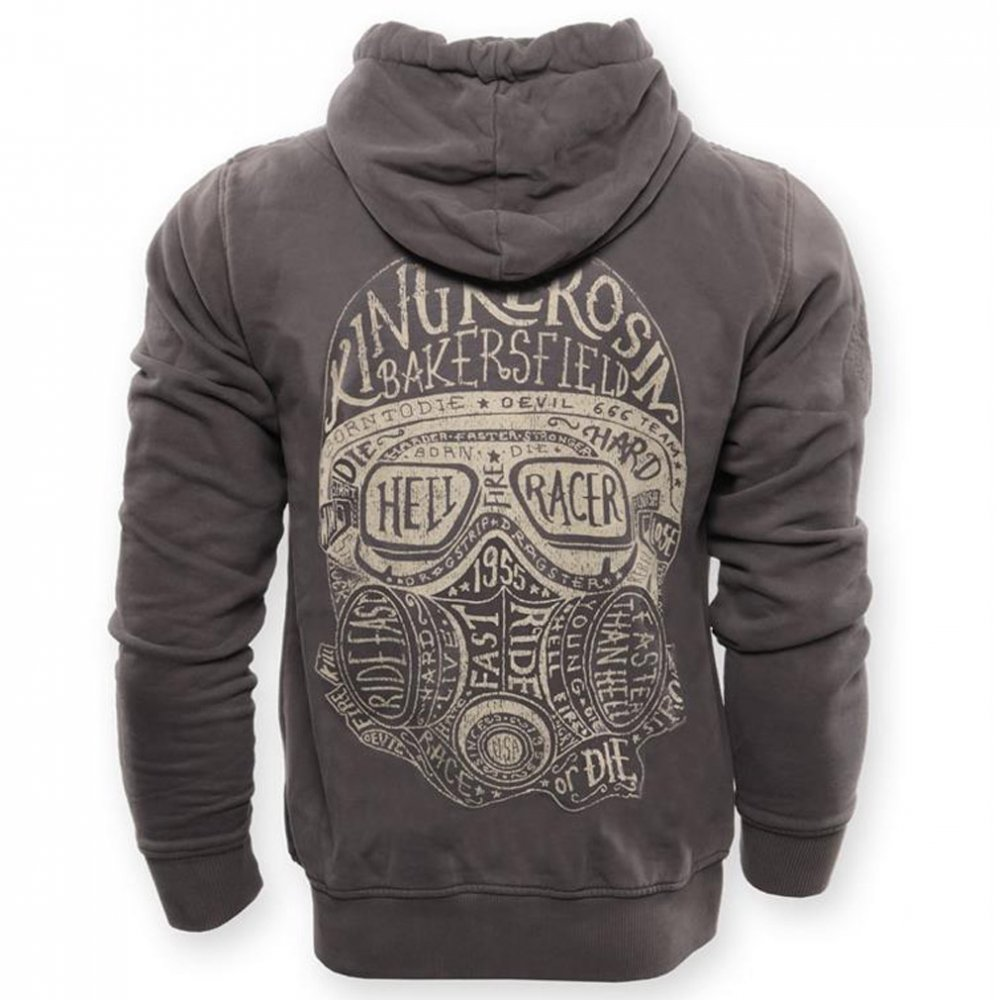 king kerosin zip hoodie hellracer grey 89 95. Black Bedroom Furniture Sets. Home Design Ideas