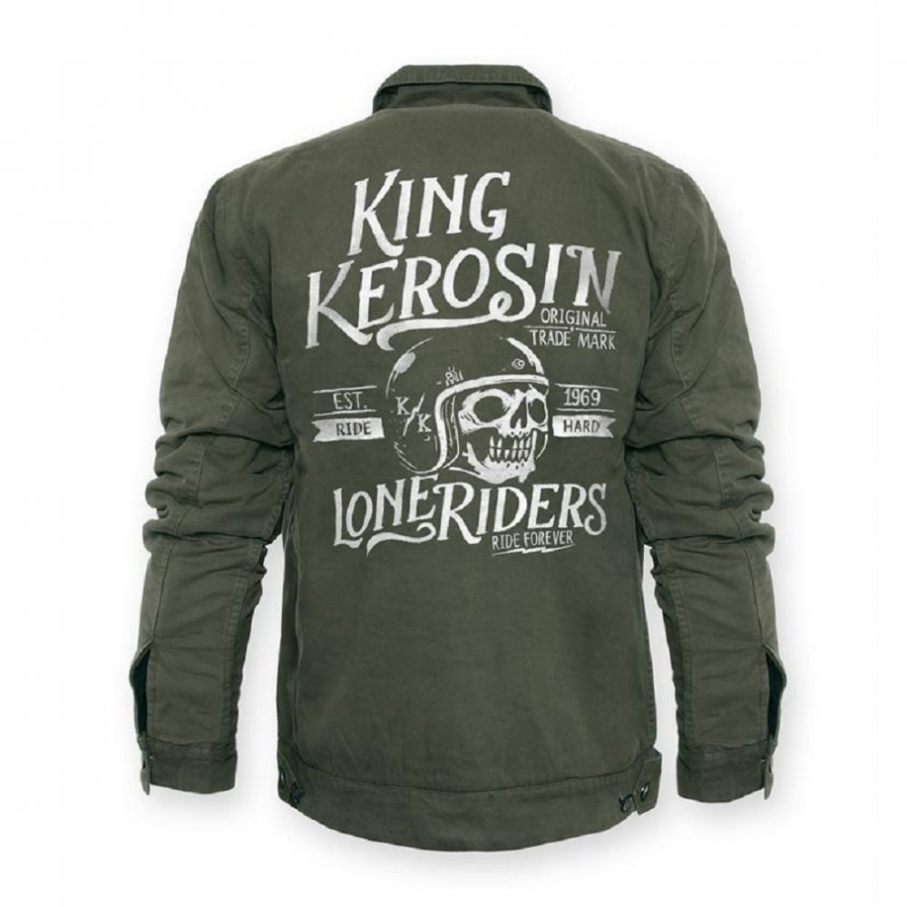 king kerosin worker jacket lone riders olive green 149 95. Black Bedroom Furniture Sets. Home Design Ideas