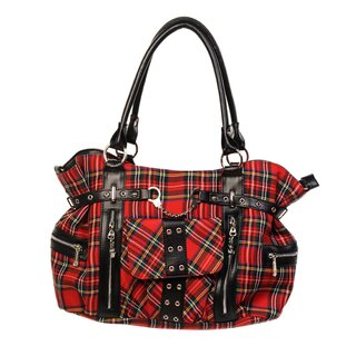 Banned - Pin Stripe Handbag / Shoulder Bag Black Red