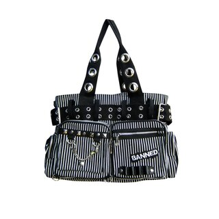 Banned - Pin Stripe Handbag / Shoulder Bag Black White