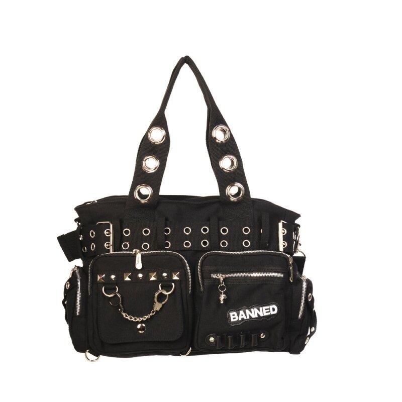 93efd9c87b00c Banned - Handtasche   Schultertasche Schwarz 754