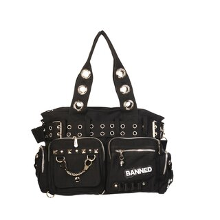 Banned - Black Gothic Handbag / Shoulder Bag