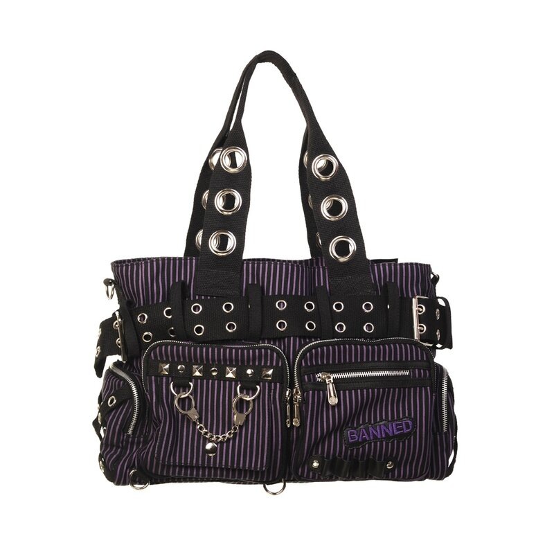 Banned - Pin Stripe Handbag / Shoulder Bag Black Purple