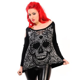 Banned Longsleeve Shirt Candy Skull Top