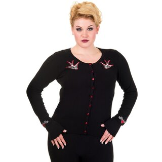 Banned Cardigan - Swallows Black