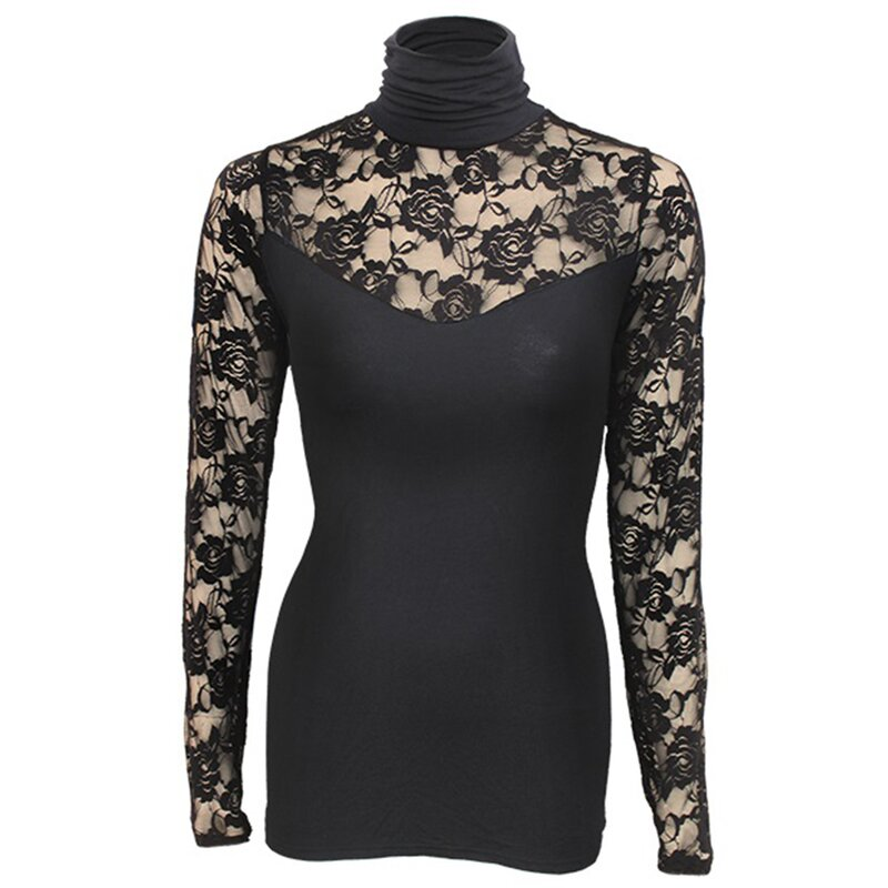 9fc07ae444a Spiral Longsleeve Girlie Shirt - Lace Corset Top Black