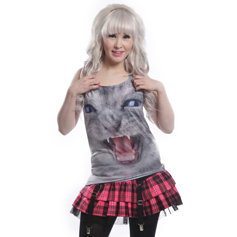 Cupcake Cult Girlie Tank Top -  Angry Kitten Vest M
