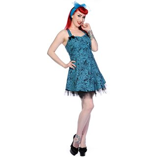 Banned Mini Dress - Skulls N Roses Blue