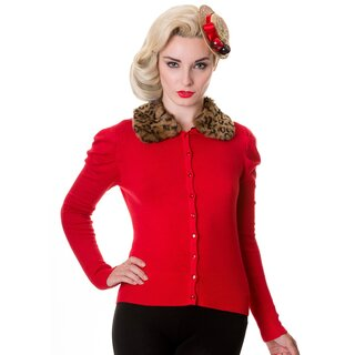Banned Cardigan - Leopard Fur Red