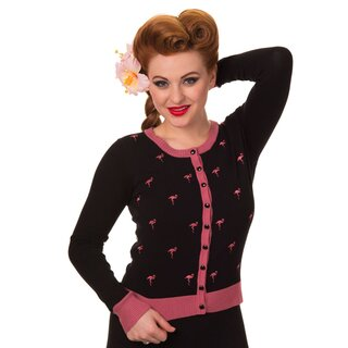 Banned Cardigan - Golden Touch Flamingo Black