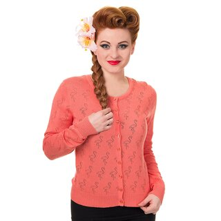 Banned Cardigan - Flamingo Punch Koralle S