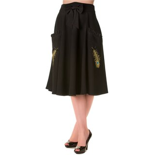 Banned Skirt - Peacock Feather Black