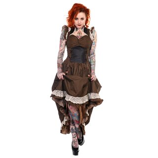 Banned Steampunk Dress - Victorian Stripes Brown Black