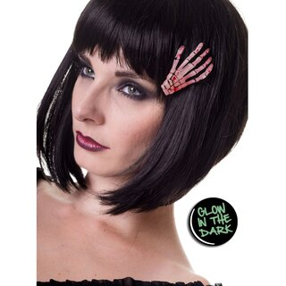 Banned Hair Clip - Skeleton Hand Glow In The Dark Pink
