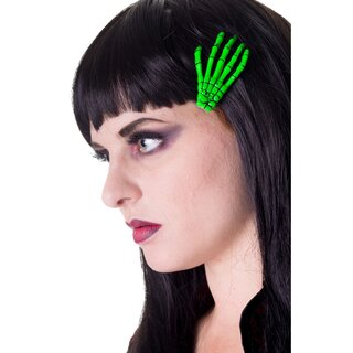 Banned Hair Clip - Skeleton Hand Fluorescent Green