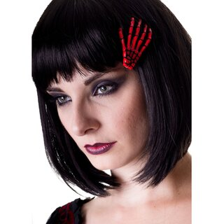 Banned Hair Clip - Skeleton Hand Red