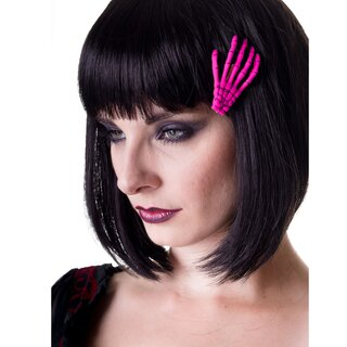 Banned Hair Clip - Skeleton Hand Pink