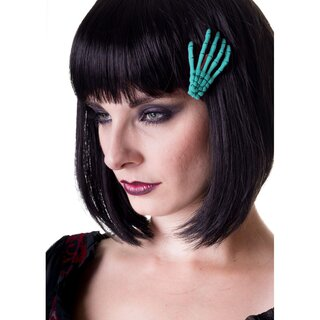Banned Hair Clip - Skeleton Hand Turquoise