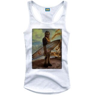 Star Wars Girlie Tank Top - Chewbacca On The Beach Weiß