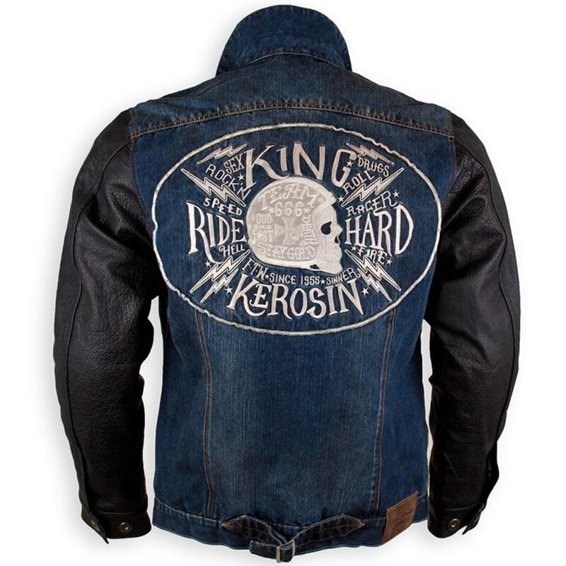 king kerosin denim leather kevlar biker jacket. Black Bedroom Furniture Sets. Home Design Ideas