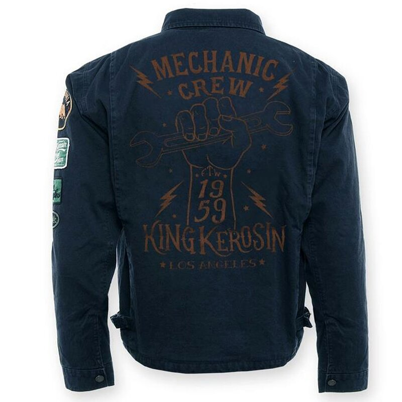 king kerosin worker jacket mechanic crew 1959 dark blue. Black Bedroom Furniture Sets. Home Design Ideas