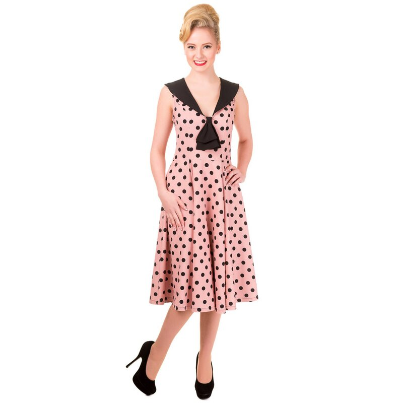 Banned Sleeveless Dress - Rival Polka Dot Dress Beige