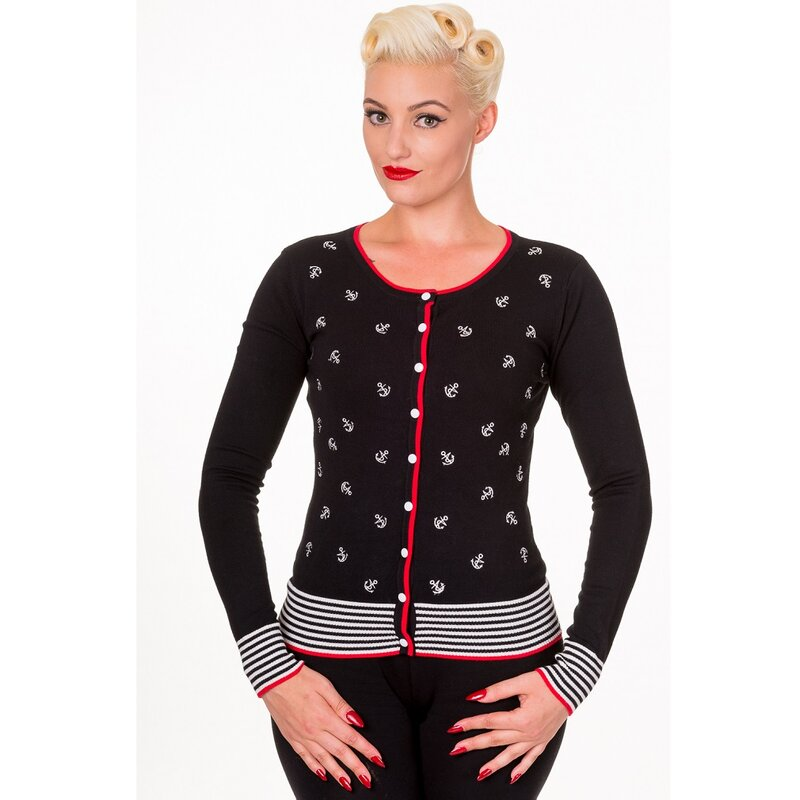 Banned Cardigan - Close Call Anchor Black