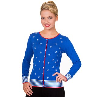 Banned Cardigan - Close Call Anchor Blue