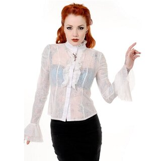 Banned Blouse Lace Shirt - Gothic Key Beige-White
