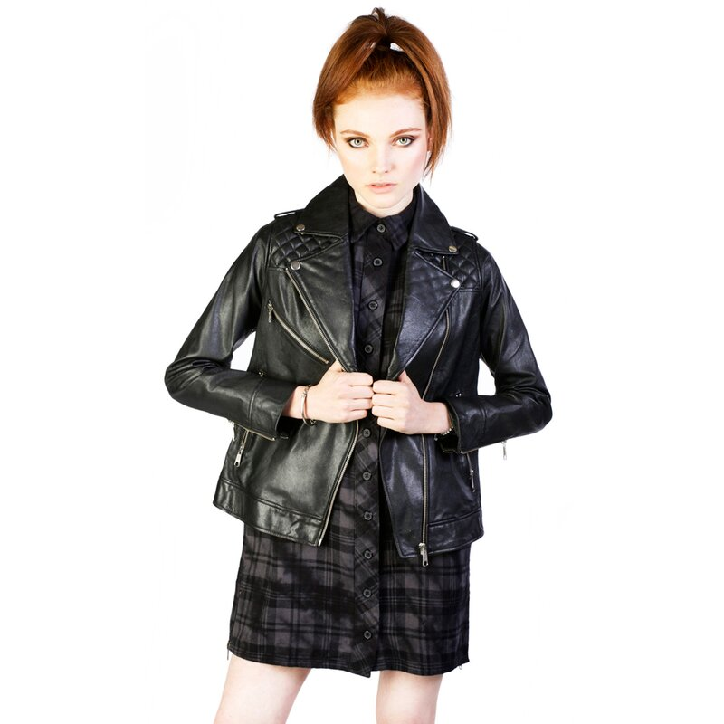 Disturbia damen lederjacke dead moon 379 90 - Rockabilly outfit damen ...