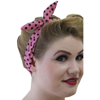 Banned Headband - Polka Dot Tiffany Pink Black