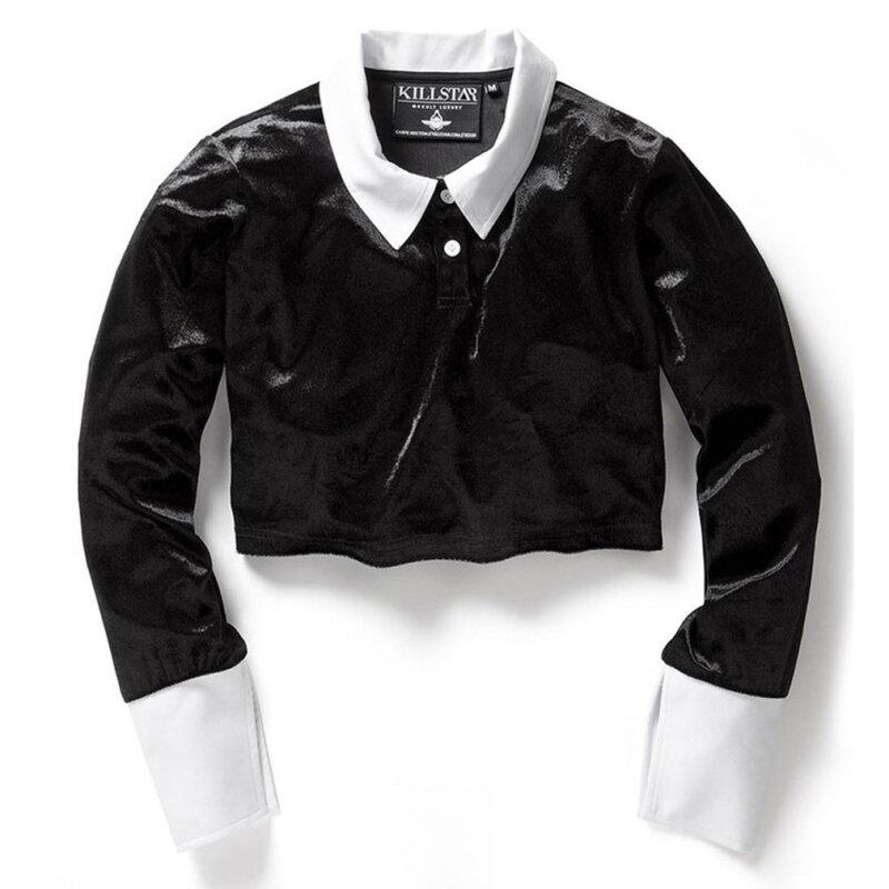 killstar bauchfreies damen samt shirt friday crop top s. Black Bedroom Furniture Sets. Home Design Ideas