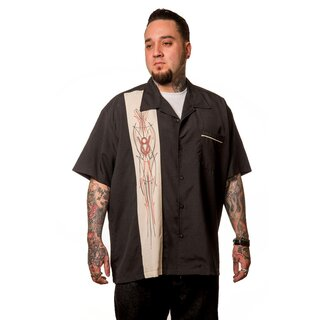 Steady Clothing Vintage Bowling Shirt - V8 Pinstripe Panel S