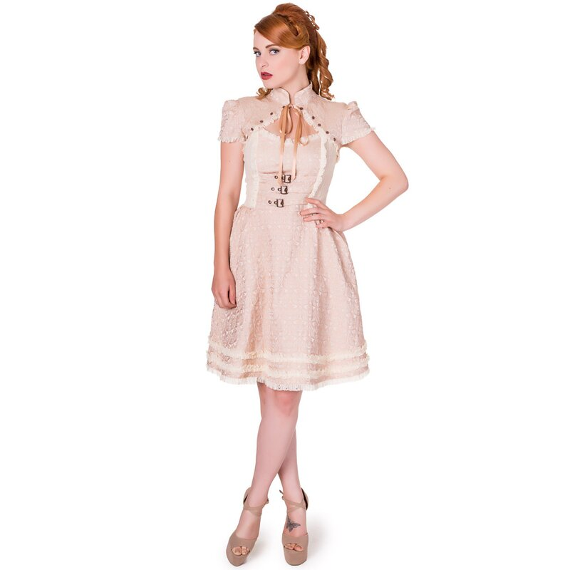 Banned Vintage Gothic Dress - Rise Of Dawn Beige