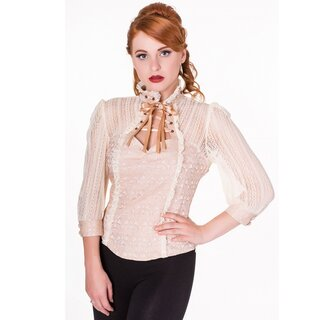 Banned Steam Punk Blouse - Rise Of Dawn Shirt Beige