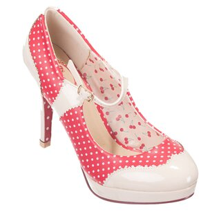 Dancing Days High Heel Pumps - Mary Jane Polka Dot Red