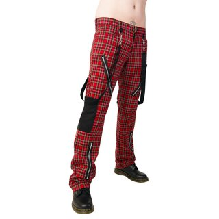 Black Pistol Jeans Trousers - Punk Pants Tartan Red