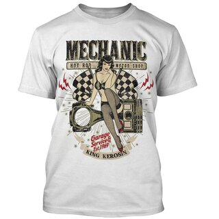 King Kerosin T-Shirt - Mechanic Pin-Up Weiß