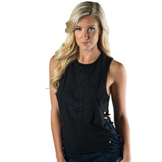 Sullen Angels Slashed Tank Top - Lace Skull