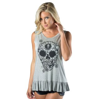 Sullen Angels Tank Top - Sunflower Skull Ruffle