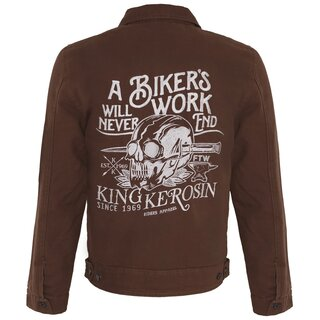 King Kerosin Vintage Canvas Workerjacke - Bikers Work Braun