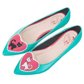 Dancing Days Pointed Ballerina Flats- Hattie Turquoise