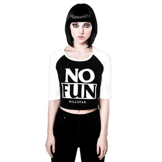 Killstar cropped 3/4-Sleeve T-Shirt - No Fun Raglan