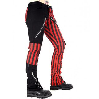 Black Pistol Jeans Trousers - Freak Pants Sriped Red