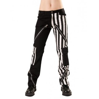 Black Pistol Jeans Hose - Freak Pants Weiß gestreift