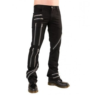 Black Pistol Jeans Trousers - Zipper Pants Black