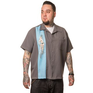 Steady Clothing Vintage Bowling Shirt - Single Pin-Up Blau