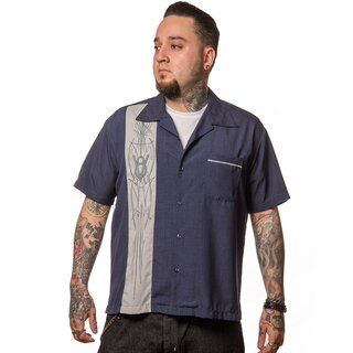 Steady Clothing Vintage Bowling Shirt - V8 Pinstripe...