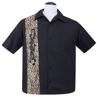 Steady Clothing Vintage Bowling Shirt - Music Note Leopard